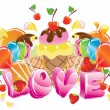 Valentine background with sweets, fruit, berries and ice cream — Stock Vector #8265844