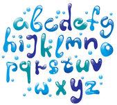 ładny połysk niebieski alfabet — Wektor stockowy