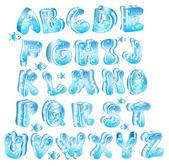 Cute glossy blue alphabet — Stock Vector