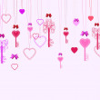 Valentine background with keys and hearts — Stock Vector