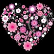Floral bright pink Heart — Stockvektor