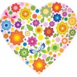 Floral colorful Heart and butterfly — Stock Vector