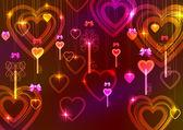Valentinstag hintergrund mit schlüssel und herzen — Stockvektor