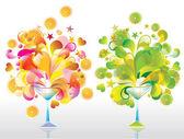 Zwei cocktails in farbe — Stockvektor