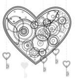 Mechanical black Valentine heart — Stock Vector
