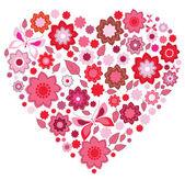 Borboleta e coração rosa floral — Vetorial Stock