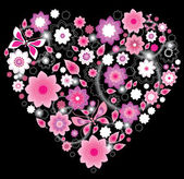 Floral bright pink Heart — Stock Vector