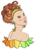 Beautiful young woman in carnival dress — Stock Vector