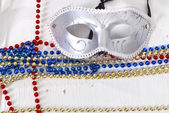 Carnival silver Mask wirh color beads — Stock Photo