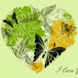 Royalty-Free Stock Vector Image: Valentine floral green background with heart