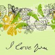Valentine floral green background — Stock vektor