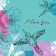 Valentine blue and pink floral background — Imagen vectorial