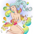 Attractive girl with a naked body sitting with fish, Illustratio - 图库矢量图片