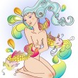 Attractive girl with a naked body sitting with fish, Illustratio - Imagen vectorial