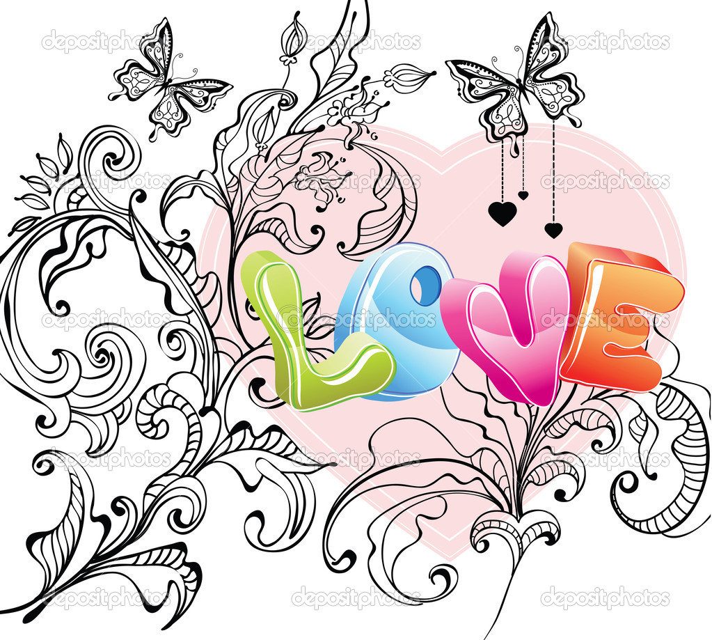 Valentine background with floral ornament and love over white — Stock Vector #8480151