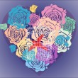 Valentine background with floral heart and cage - Imagens vectoriais em stock