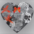 图库矢量图片: Valentine background with floral heart and cage