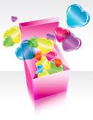 Rosa geschenkbox mit fliegenden herzen zu öffnen — Stockvektor