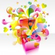 Pink box with great splash — Imagen vectorial