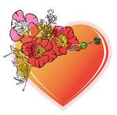 Blommig valentine hjärta — Stockvektor