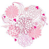 Beautiful floral heart — Stock Vector