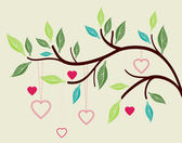 Beautiful background with tree branch and hearts — Stock Vector