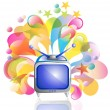 Tv icon and bright splash - Stock Vector