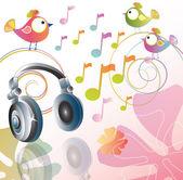 Beautiful illustration with headphones — Stock Vector