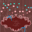 Stock Vector: Floral label for Valentine holiday, dark color