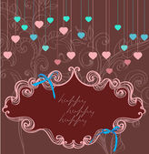 Floral label for Valentine holiday, dark color — Stock Vector