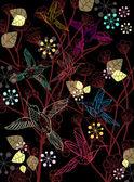 красивые темные цветочные иллюстрации с птицами — Cтоковый вектор