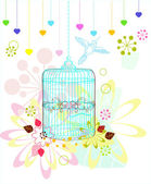 Cage with flowers and bird over white — Stock Vector