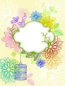 Beau fond avec cage et fleurs — Vecteur