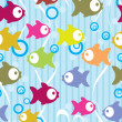 Seamless color background with cute cartoon fish — Stock Vector #8885180