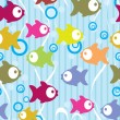 Seamless color background with cute cartoon fish — Stock Vector
