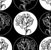 Seamless background with flowers, black and white — Stock Vector