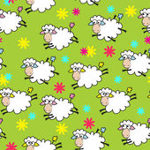 Seamless color background with cute sheep — Stock Vector