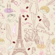 Seamless background with different Paris elements - Stock Vector