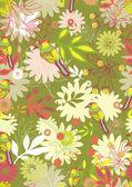 Modèle sans couture avec les tendres fleurs et oiseaux — Vecteur