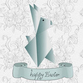 Easter card with origami rabbit — Stock Vector
