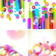 Set of four beautiful abstract background — Stock Vector