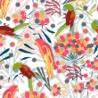 Abstract hand-drawing Seamless pattern with flowers and birds — 图库矢量图片