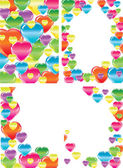 Satz von vier schönen Hintergründen mit Herzen — Stockvektor