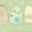 Easter eggs with floral elements — Stock Vector