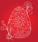 Tarjeta de pascua rojo con huevo y ornamento floral — Vector de stock