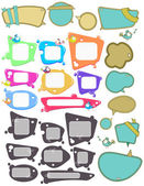 Big set of Speech bubbles, labels with funny birds — Stock Vector