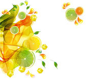 Orange and lime juice colorful splash with abstract wave — Stock Vector