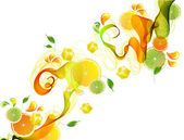 Orange and lime juice splash with abstract wave — Stock Vector