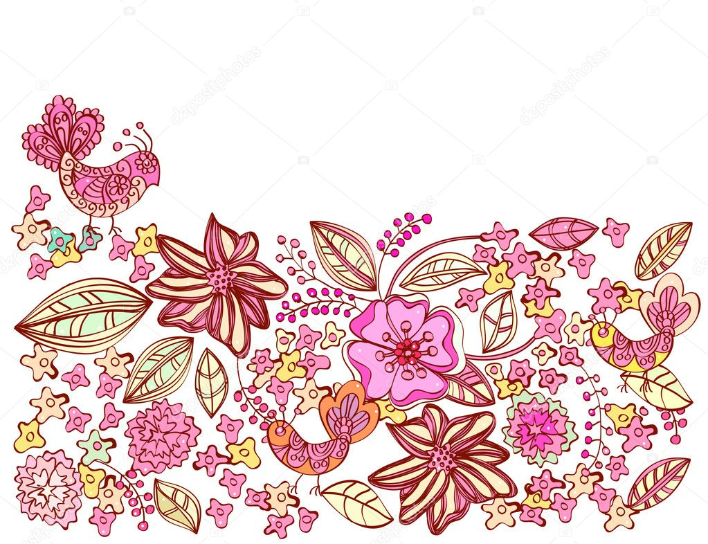 Beautiful pink floral background with birds, illustration — Stock Vector #9293844