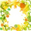 Orange and lime juice splash with abstract wave - Stock Vector